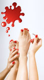 Pedicure process - red pedicure. Pedicure process - red manicure and pedicure Stock Images