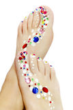 Pedicure with rhinestones. Royalty Free Stock Photo