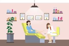 Pedicure in salon. Isolated illustration in cabinet vector illustration