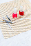 Pedicure set on the table Stock Photos