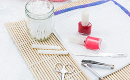 Pedicure set on table Royalty Free Stock Images