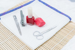 Pedicure set on table Stock Images