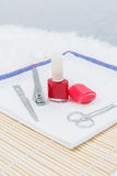 Pedicure set on table Stock Photos