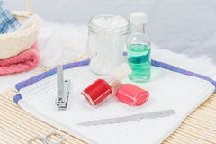 Pedicure set on table Royalty Free Stock Photography