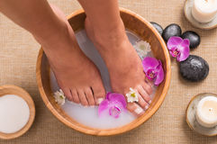 Pedicure at spa stock photography