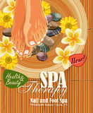 Pedicure spa poster with women's legs or feet with pink nail. On bamboo background vector illustration