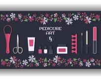 Pedicure sztuka Set akcesoria i narzędzia dla pedicure'u Zdjęcia Royalty Free