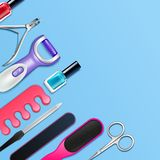 Pedicure Tools Frame Stock Image