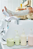 Pedicure treatment products in nails salon Stock Photos