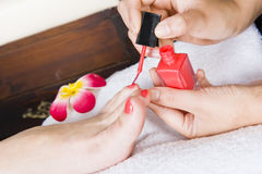 Pedicure treatment in a spa Stock Photos