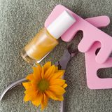 Pedicure'u piękna ustalony ans kwiat Zdjęcia Royalty Free