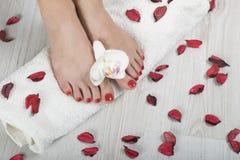 Pedicure vermelho do gel bonito com orquídea e pétalas ao redor na toalha branca Fotos de Stock