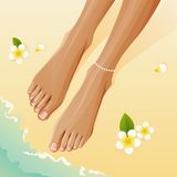 Pedicured legs royalty free stock photography
