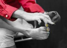 Pedicured och manicured fingrar royaltyfri bild