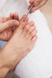 Pedicurist cleaning a customers toe nails Royalty Free Stock Photography