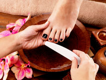 Pedicurist master makes pedicure on woman's legs Royalty Free Stock Photos