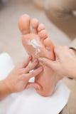 Pedicurist rubbing massage cream Stock Image