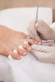 Pedicurist working on customers feet Royalty Free Stock Images