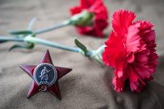 Pedido de la estrella roja y de dos claveles rojos Fotografía de archivo libre de regalías
