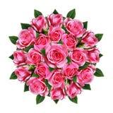 Pedido em volta do ramalhete da rosa do rosa floresce e brota imagens de stock