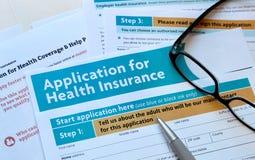 Pedido para o seguro de saúde Fotografia de Stock