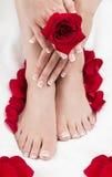 Pediküre-Maniküre-Badekurort übergibt roten Rosen Weiß-Tuch lizenzfreies stockfoto