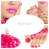 Pedikyrprocess - rosa manikyr och pedikyrcollage (ljus pi Arkivbilder