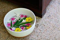 Pediluvio in ciotola con calce ed i fiori tropicali, trattamento di pedicure della stazione termale, vista superiore fotografie stock