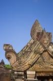 Pediment in Banteay Srei Temple. Pediment detail in Banteay Srei Temple Royalty Free Stock Photography