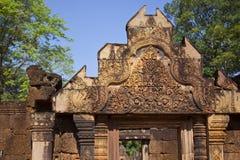 Pediment in Banteay Srei Temple. Pediment detail in Banteay Srei Temple in Cambodia Royalty Free Stock Image