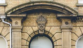 Pediment of Building from 1887. Split Toning Shallow Depth of Field Architecture Details Royalty Free Stock Photo