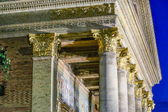 Pediment and capitals. Night view of details of pediment and capitals of Hall of Art museum in Square of Heroes in Budapest Royalty Free Stock Photography