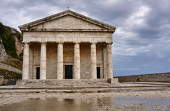 Pediment and columns of the church. St.George in Corfu Royalty Free Stock Photo