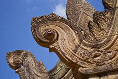 Pediment Detail in Banteay Srei Temple Stock Photo