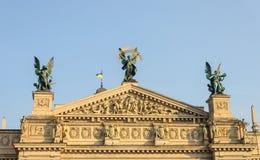 Pediment of Lviv Opera House. Pediment of Lviv National Academic Opera and Ballet Theatre, Ukraine Stock Photography