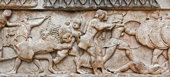 Pediment sculpture. Battle in greek pediment sculpture Stock Images