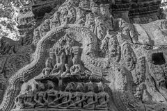Pediment in Ta Prohm Temple Royalty Free Stock Image