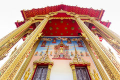 The pediment of the temple, Thailand. Royalty Free Stock Photo