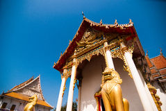 The pediment of the temple, Thailand Stock Images