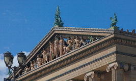 Pediment on Top of the Philadelphia Museum of Art. Philadelphia Museum of Art in Philadelphia, Pennsylvania. The building was constructed with dolomite quarried Stock Photography