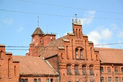 Pediment and tower of the Teutonic Tapiau lock in sunny day. Gvardeysk, Kaliningrad region.  Stock Images