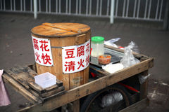 Pedlar stall. A stall with tofu to sell in china asia Royalty Free Stock Photo