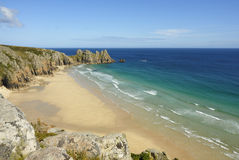 Pedn vounder beach, Cornwall. Pedn vounder beach, one of Cornwall's best beaches with stunning cliffs of Treryn Dinas, crystal clear water and a beautiful sandy stock photos