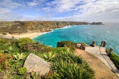 Pedn Vounder plaży porthcumo Cornwall Anglia Zdjęcia Stock