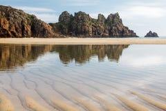 Pedn Vounder strand Cornwall England Arkivbilder