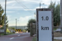 Pedone e percorso di eco del ciclo, in Viseu, il Portogallo fotografie stock