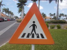 Pedoni del segnale stradale Fotografia Stock