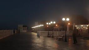 Pedoni sulla notte di estate, via trasversale della città Camminata dei pedoni, attraversante una via della città video d archivio