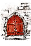 a pedra antiga da aquarela do esboço da fechadura da porta ilustração do vetor