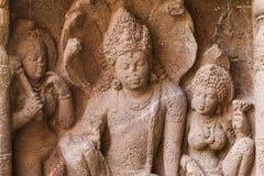 A pedra antiga da caverna cinzelou a escultura na caverna de Ajanta Imagem de Stock Royalty Free